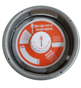 custom printed 1 color keg collar for Sequoia Brewing placed on a sixth barrel keg