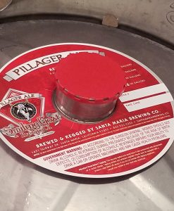 4 color digitally printed custom keg collar placed on a keg with red vented keg cap