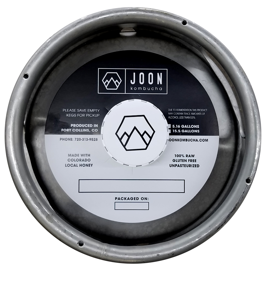 Custom printed keg collar on tag stock with black ink for Joon Kombucha installed on 1/6 barrel keg