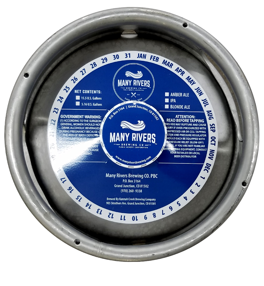 custom waterproof keg collar for Many Rivers Brewing placed on a sixth barrel keg