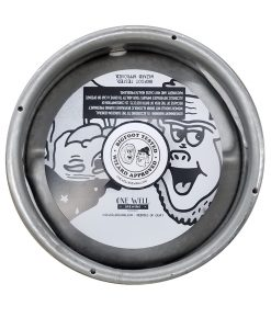 Custom printed black and white keg collar for One Well Brewing placed on a sixth barrel keg