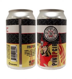 Old Firehouse Brewery Pin Up Girl can labels on a 12 oz. can