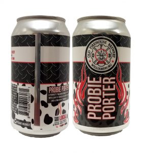Old Firehouse Brewery Probie can labels on a 12 oz. can