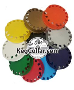 tamper evident keg caps in a collage showing each of 10 colors