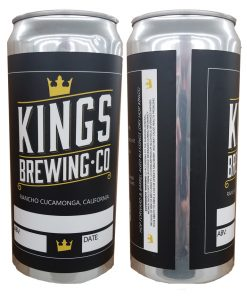32 oz. Crowler can label applied to can showing the front and back of the can with label applied