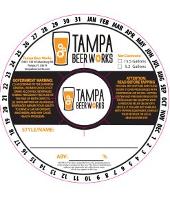 Digital artwork for Custom 2 color keg collar printed for Tampa Beer Works