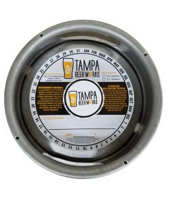 custom printed 2 color keg collar sample for Tampa Beer Works and placed on a sixth barrel keg