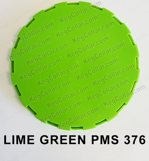 Lime Green vented keg cap with color of PMS 376 bright lime green
