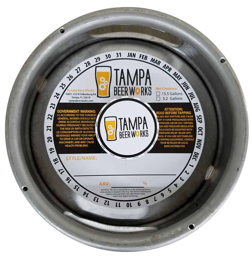 2 color keg collar with adhesive printed for Tampa Beer Works placed on a sixth barrel keg