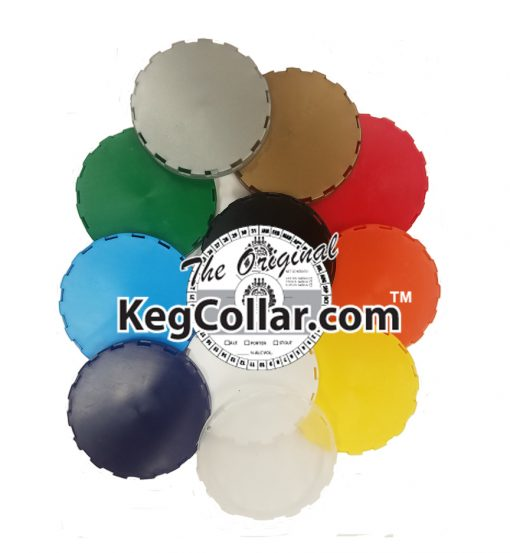 Vented keg caps in a collage with all 11 colors