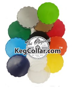 picture collage of all our vented keg caps in 12 different colors