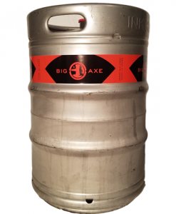 Custom printed 2 color keg wrap installed on 1/2 barrel keg
