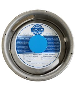 custom printed 1 color waterproof keg collar sample for Icicle Brewing placed on a sixth barrel keg