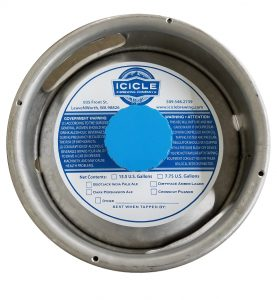 Icicle Brewing Company 1 color keg collar on waterproof tag stock placed on a sixth barrel keg