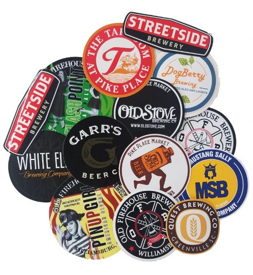 custom printed vinyl stickers individually die cut to easily hand out arranged in a collage