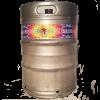 4 color custom printed keg wrap installed on a 1/2 barrel keg