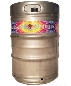 4 color custom printed keg wrap installed on a 1/2 barrel keg