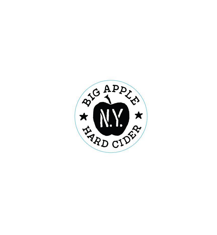 Big Apple Hard Cider promotional sticker printed 1 color