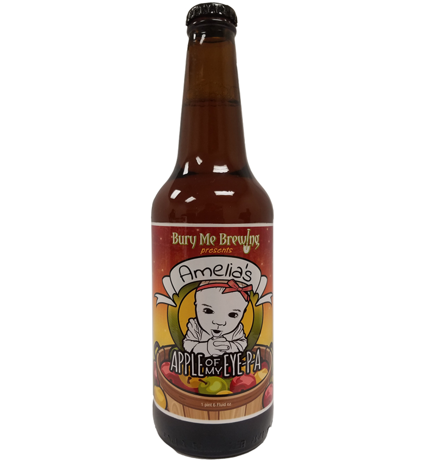 Apple of my Eye 4 color bottle label placed on 20 oz. bomber bottle for Bury Me Brewing