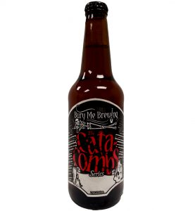 Custom shape bottle label printed for Bury Me Brewing placed on a beer bottle