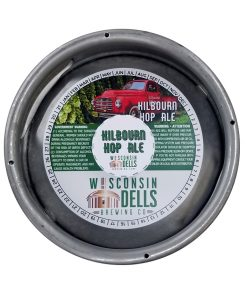 custom printed 4 color keg collar for Wisconsin Dells Brewing on tag stock with adhesive placed on sixth barrel keg