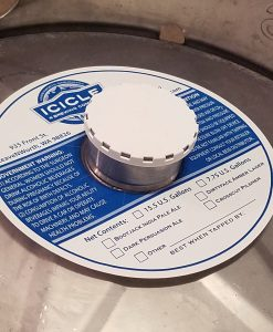 custom printed one color keg collar placed on a keg with white keg cap