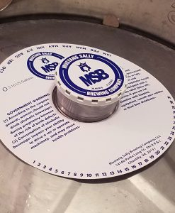 1 Color keg collar with adhesive place on keg with keg cap and keg cap sticker