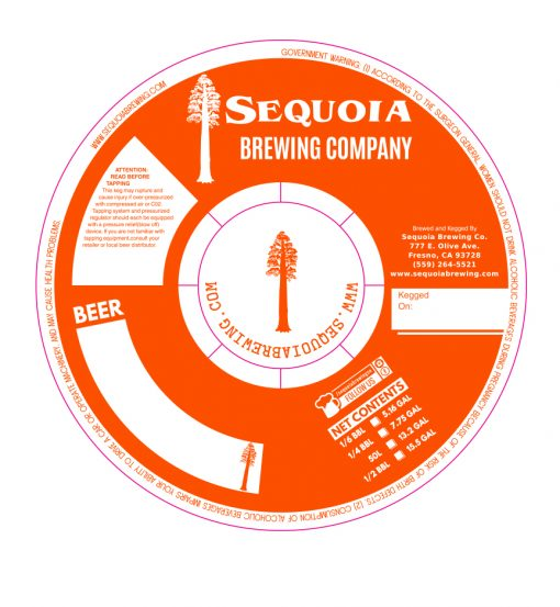 Digital rendering of a custom printed 1 color keg collar for Sequia Brewing Company