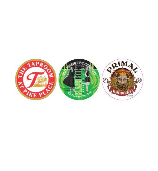 custom printed 4 color keg cap stickers samples