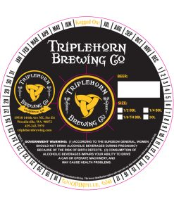 custom printed 2 color sample keg collar with adhesive for Triplehorn Brewing