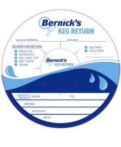 sample artwork for a 2 color custom printed keg collar printed with waterproof tag stock for Bernicks Keg Return