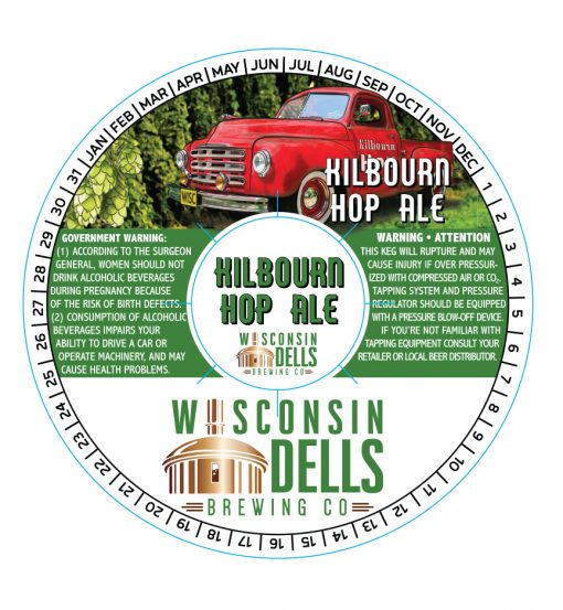 custom printed 4 color digital sample of a keg collar with adhesive for Wisconsin Dells Brewing Co.