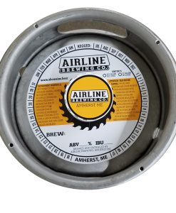 actual printed sample of a 2 color keg collar for Airline Brewing Company placed on a sixth barrel