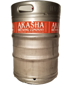 custom printed 1 color keg wrap for Akasha Brewing Company placed on 1/2 barrel keg