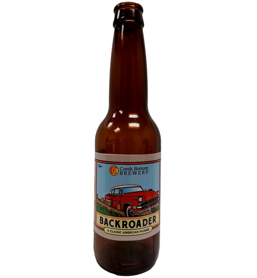 Custom 4 color digital bottle label printed for Creek Bottom Brewery