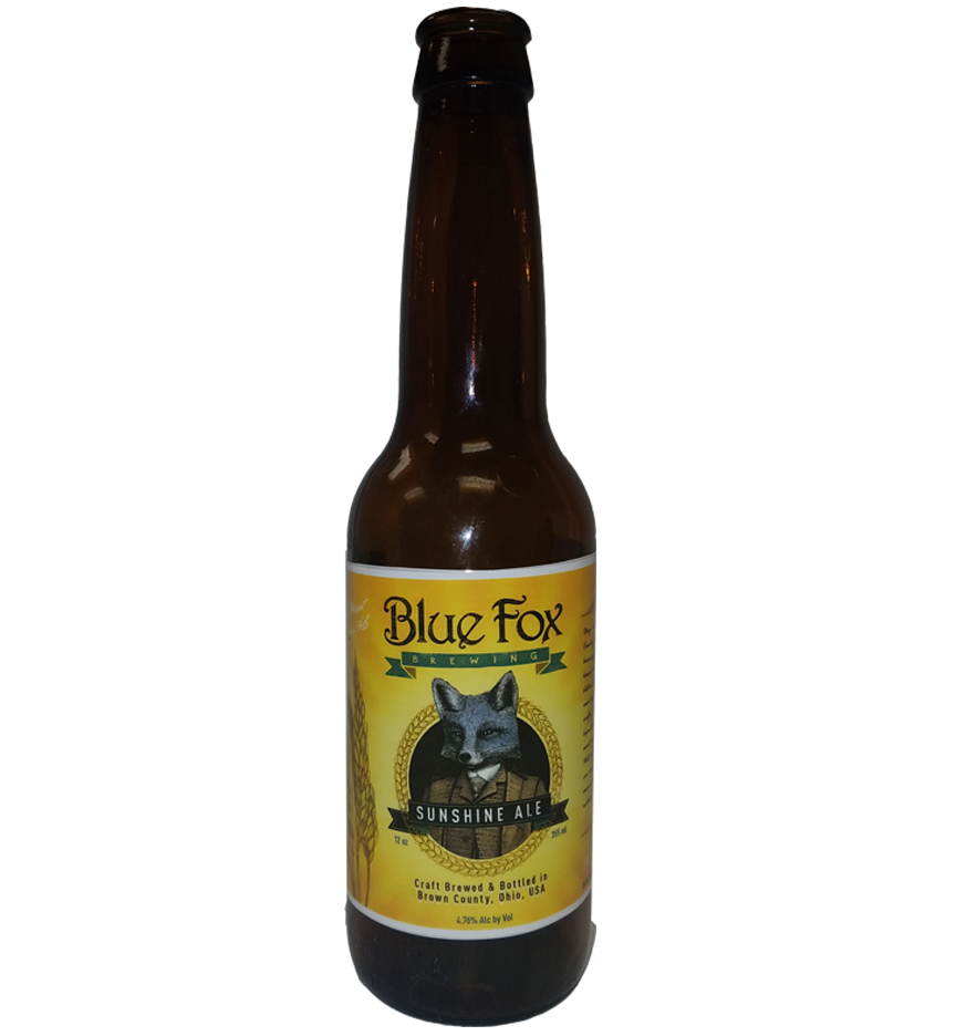Sunshine Ale 4 color bottle label sample for Blue Fox Brewing on 12 oz. bottle