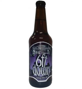 6 Ft. Down 4 color bottle label placed on 20 oz. bomber bottle for Bury Me Brewing