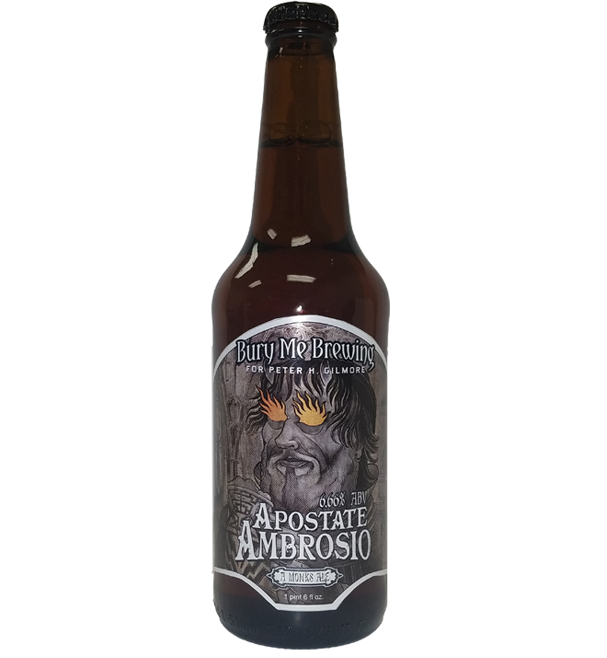 custom bottle label for Bury Me Brewing, Apostate 4 color digital label on 20 oz. bomber bottle
