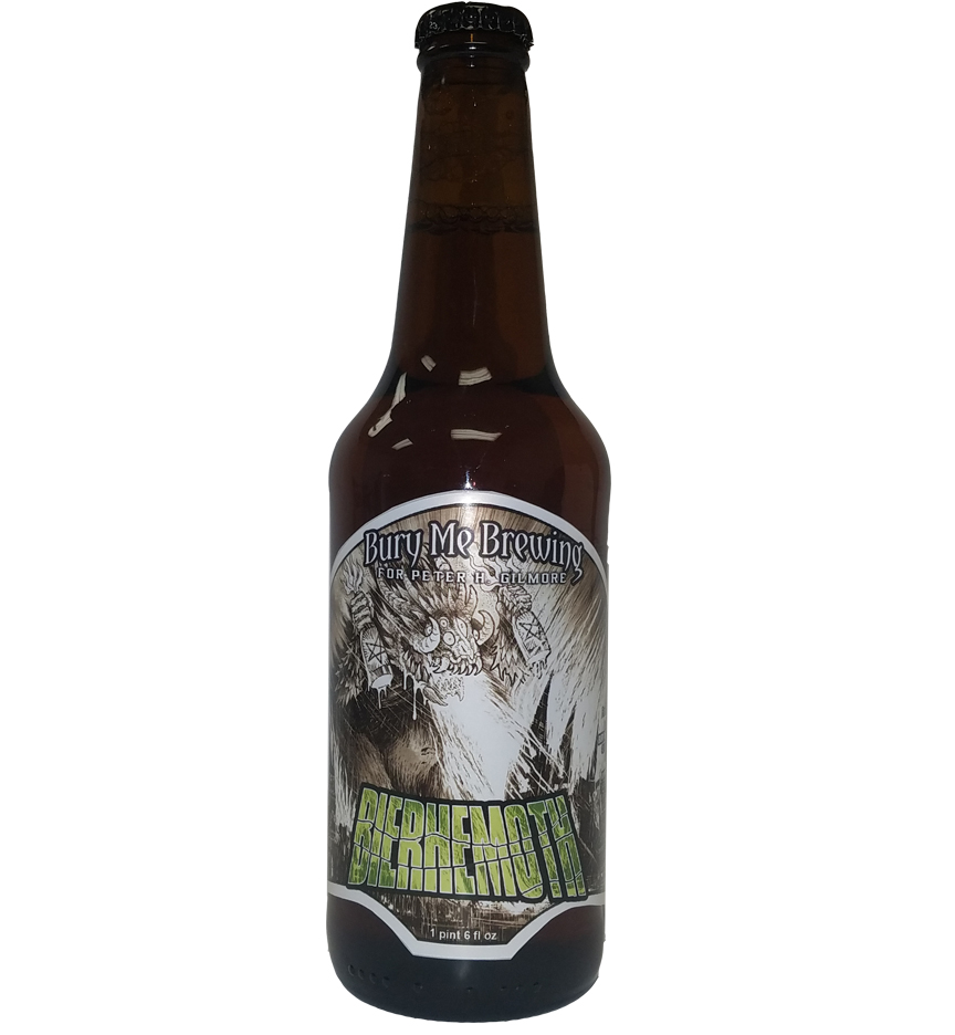 Bierhemoth 4 color bottle label placed on 20 oz. bomber bottle for Bury Me Brewing