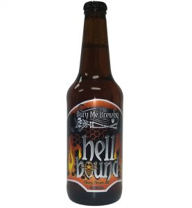 Hell Bound 4 color bottle label placed on 20 oz. bomber bottle for Bury Me Brewing