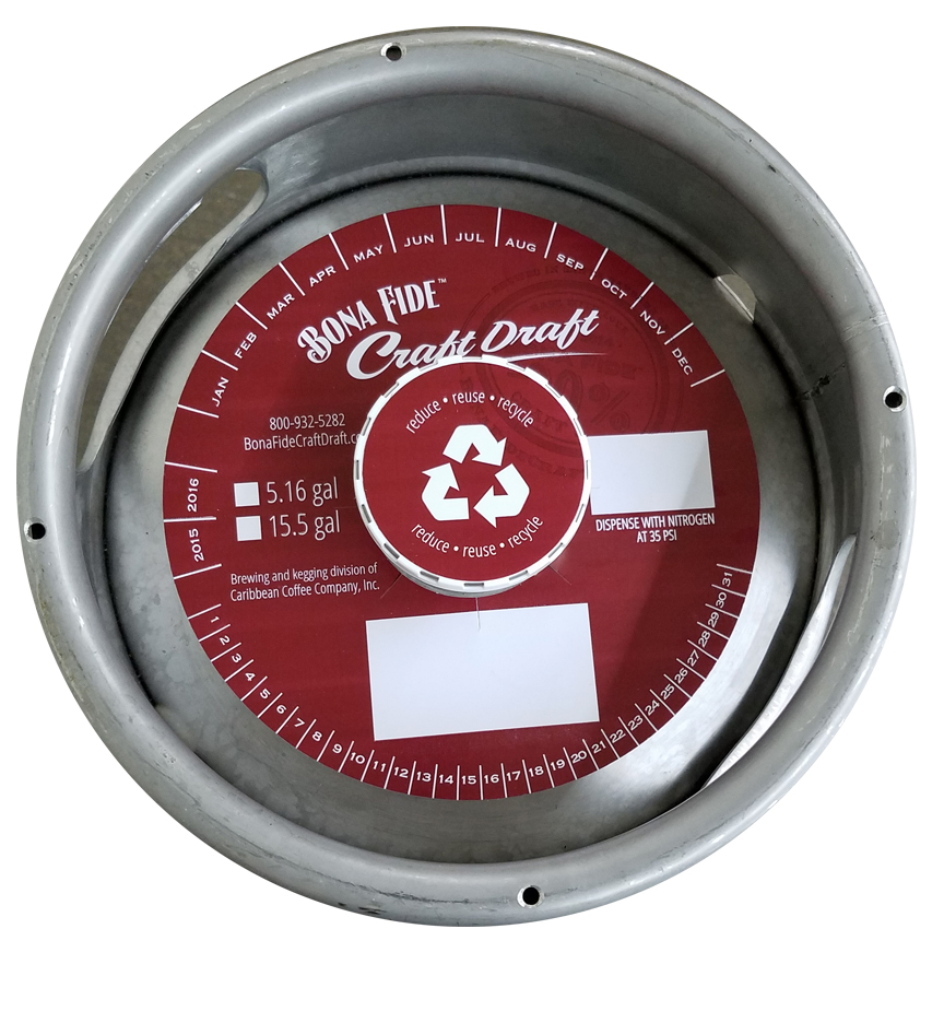 actual printed sample of a 2 color keg collar for Caribbean Coffee placed on a sixth barrel