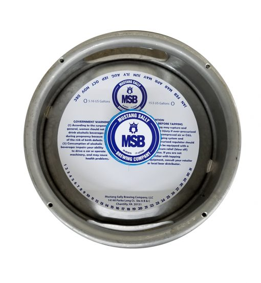7 inch keg collar with adhesive printed 1 color and placed on a sixth barrel keg