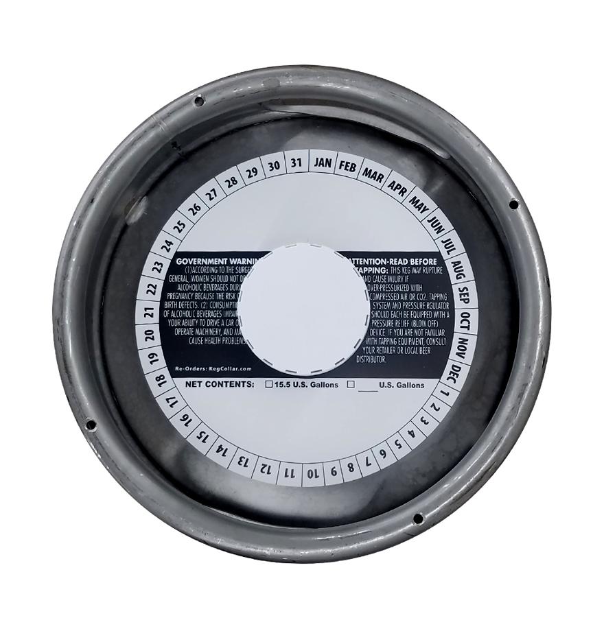 7 inch stock generic keg collar placed on a sixth barrel keg