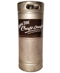 custom printed 6 inch wide keg wrap installed on a 1/6 barrel keg for BonaFide Craft Draft