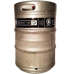 custom printed 1 color keg wrap for Direct Tap placed on 1/2 barrel keg
