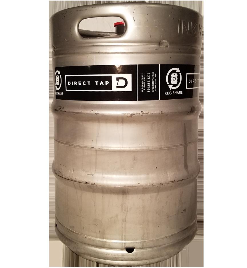 custom printed 1 color keg wrap for Direct Tap placed on 1/2 barrel keg