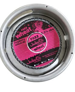 actual printed sample of a 2 color keg collar for Jackie O's placed on a sixth barrel
