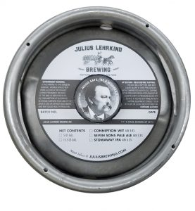 custom printed 1 color keg collar for Julius Lehrkind Brewing placed on sixth barrel keg