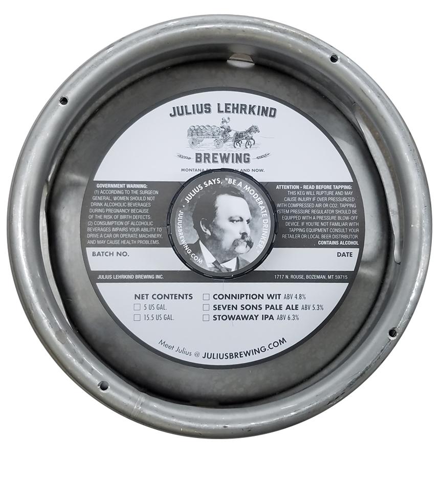 custom printed 1 color keg collar for Julius Lehrkind Brewing placed on sixth barrel keg