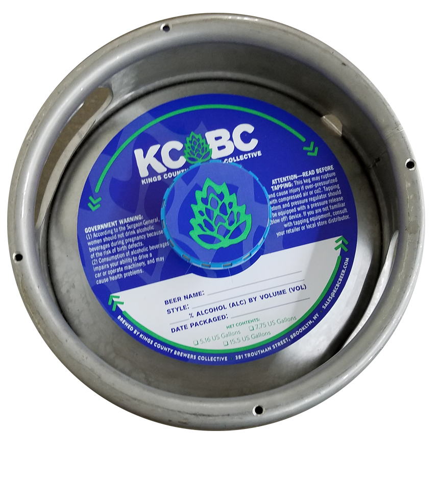 actual printed sample of a 2 color keg collar for KCBC Brewing placed on a sixth barrel